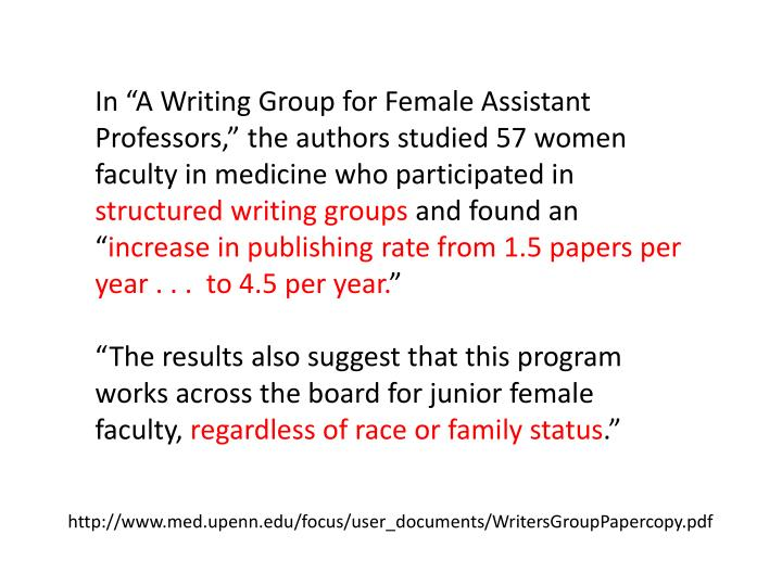 "In ""A Writing Group for Female Assistant Professors,"" the authors studied 57 women faculty in medicine who participated in"