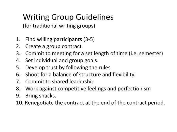 Writing Group Guidelines