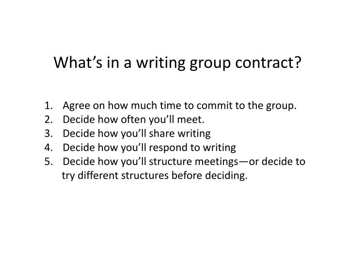 What's in a writing group contract?