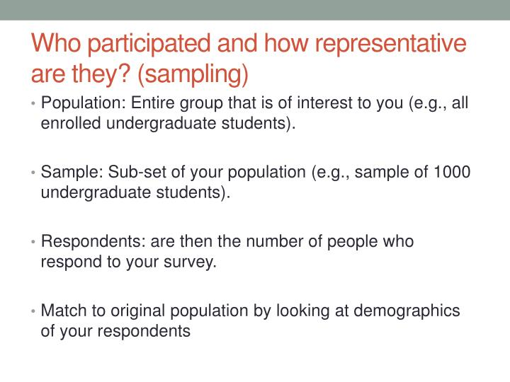 Who participated and how representative are they? (sampling)