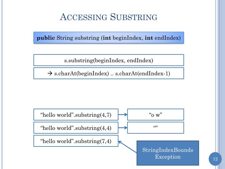 Accessing Substring