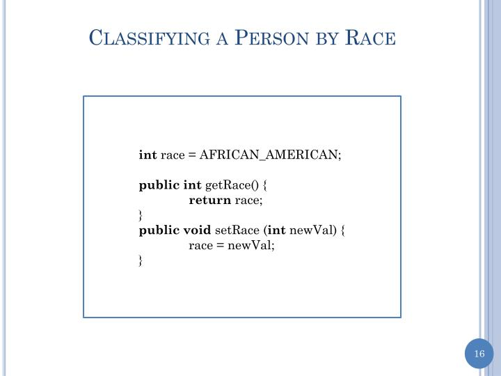 Classifying a Person by Race