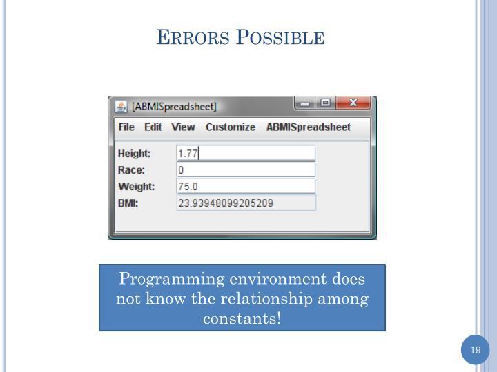 Errors Possible