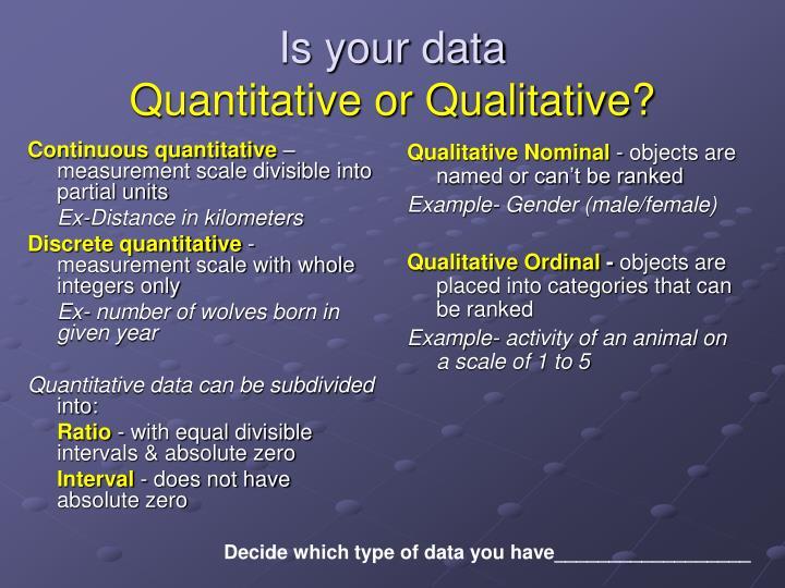 Continuous quantitative