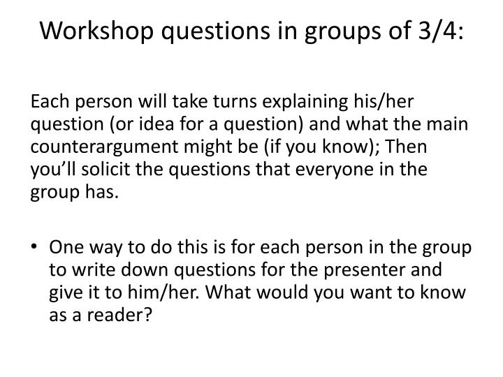 Workshop questions in groups of 3/4: