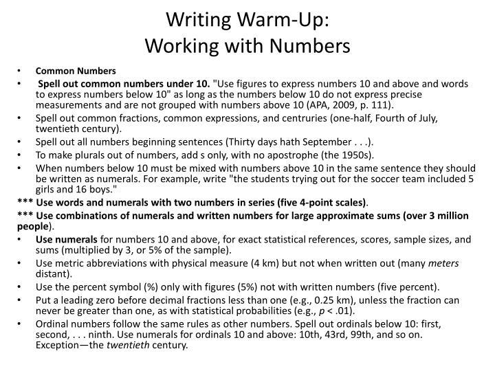 Writing Warm-Up: