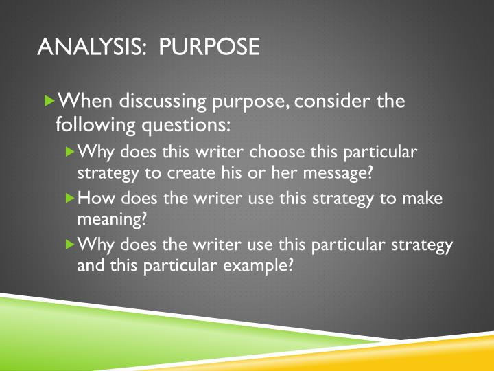 analysis:  purpose