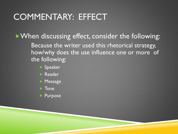 Commentary:  effect