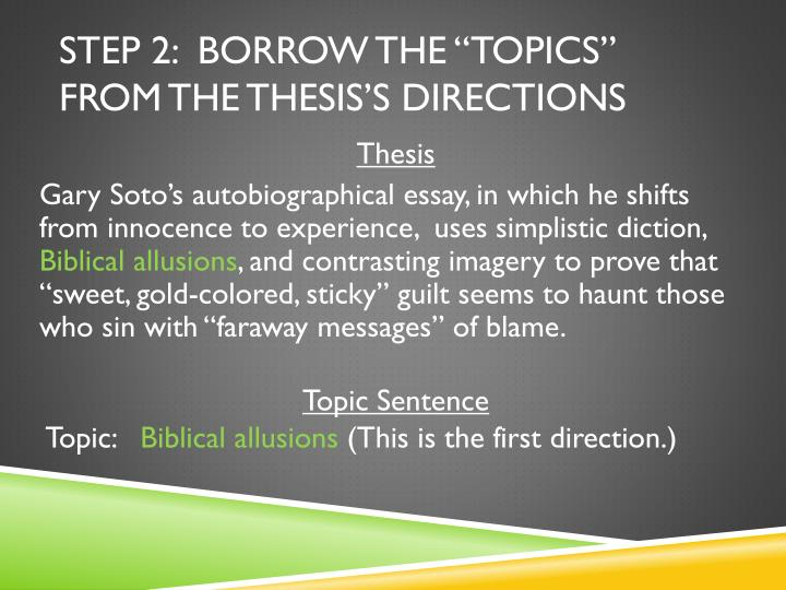 """Step 2:  Borrow the """"Topics"""" from the Thesis's Directions"""