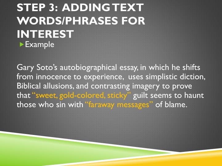 STEP 3:  ADDING text words/PHRASES FOR INTEREST