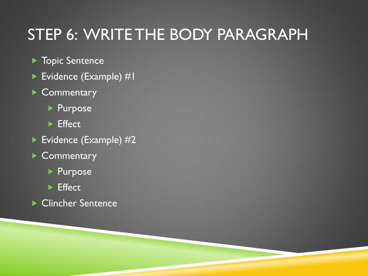 Step 6:  Write the body paragraph