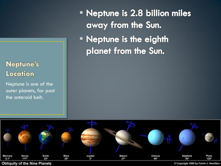 Neptune is 2.8 billion miles away from the Sun.