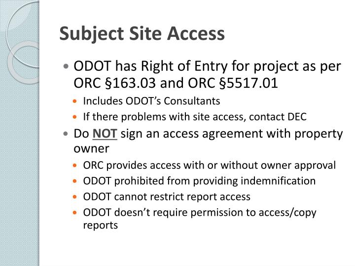Subject Site Access