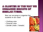 a cluster is the way we organize groups of similar items
