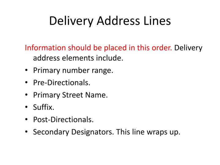 Delivery Address Lines