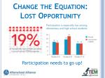 change the equation lost opportunity