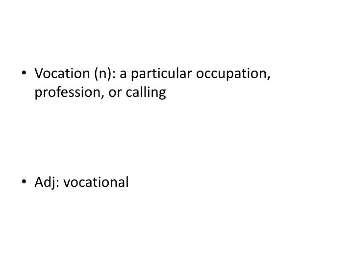 Vocation (n): a particular occupation, profession, or calling