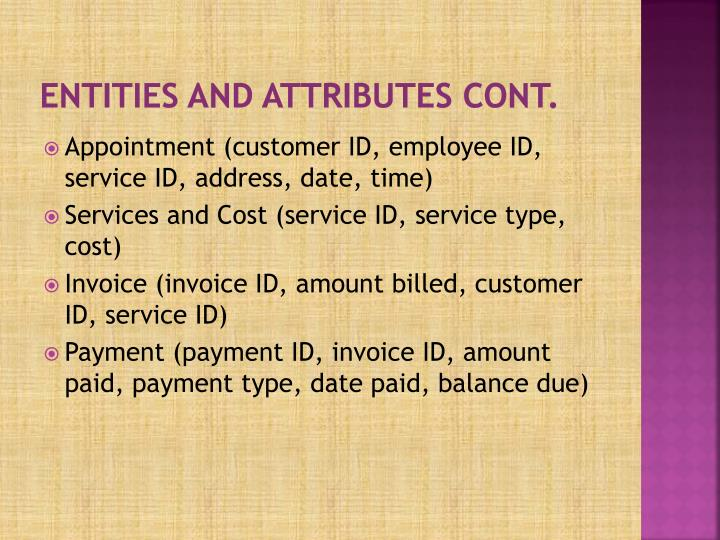 Entities and attributes cont.