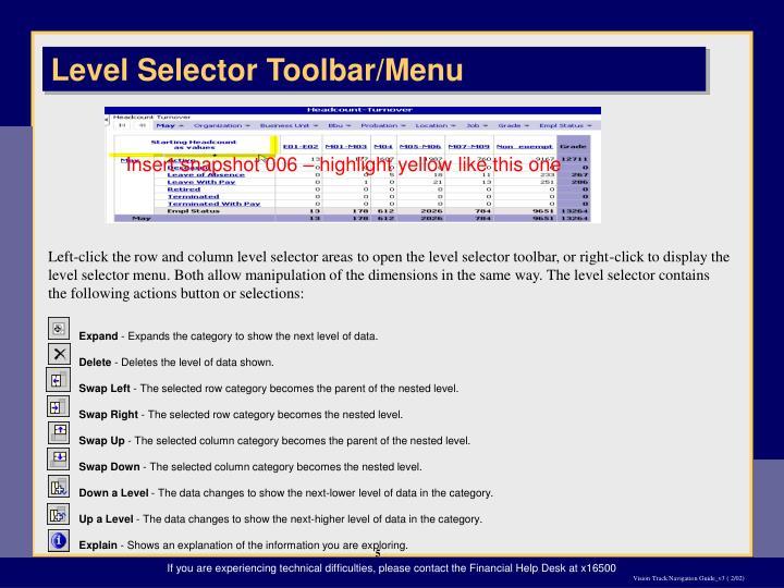 Level Selector Toolbar/Menu