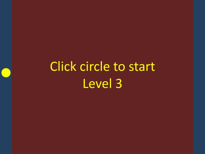 Click circle to start Level 3