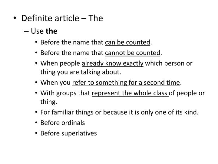 Definite article – The