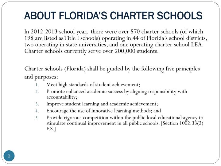 ABOUT FLORIDA'S CHARTER SCHOOLS