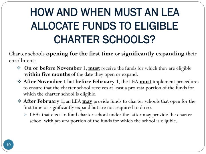 HOW AND WHEN MUST AN LEA ALLOCATE FUNDS TO ELIGIBLE CHARTER SCHOOLS?