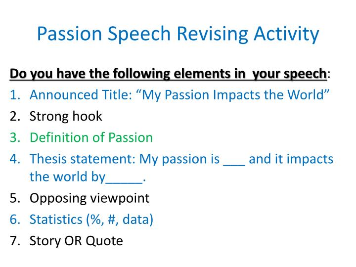 Passion speech revising activity