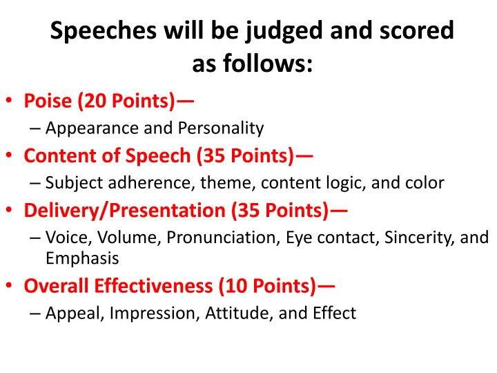 Speeches will be judged and scored