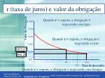 r taxa de juros e valor da obriga o