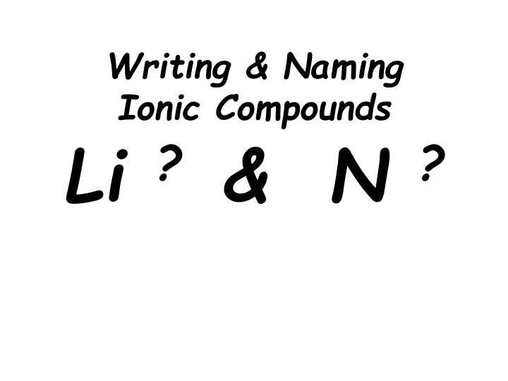 Writing & Naming