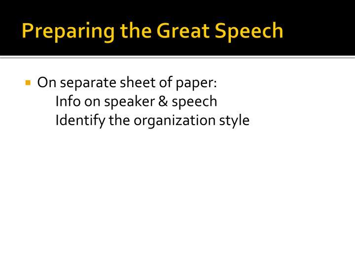 Preparing the Great Speech