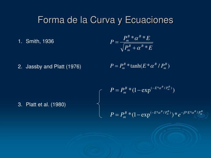 Forma de la Curva y Ecuaciones