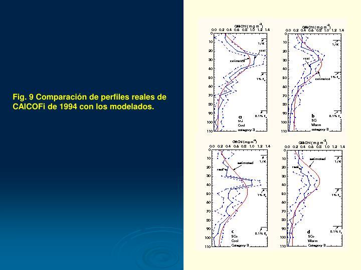 Fig. 9 Comparación de perfiles reales de CAlCOFi de 1994 con los modelados.
