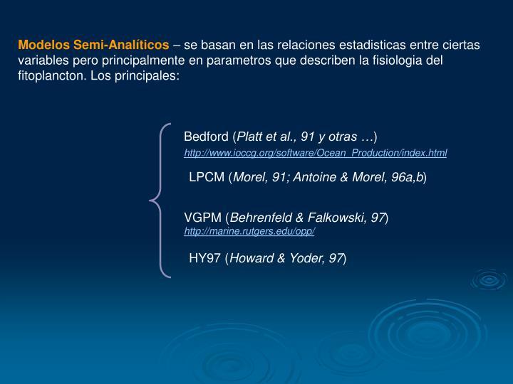 Modelos Semi-Analíticos