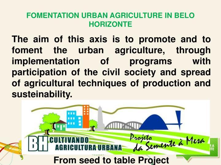FOMENTATION URBAN AGRICULTURE IN BELO HORIZONTE