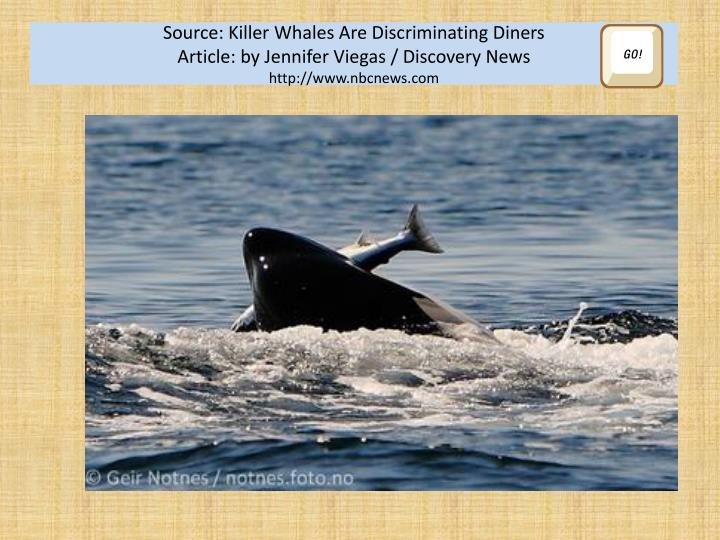 Source: Killer Whales Are Discriminating Diners