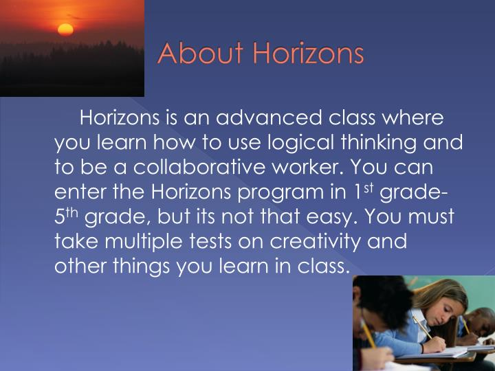 About Horizons