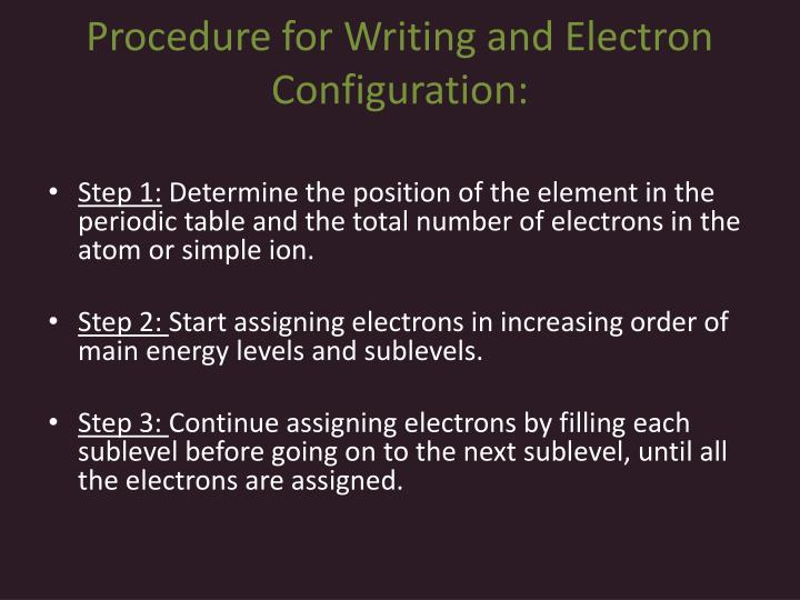 Procedure for Writing and Electron Configuration:
