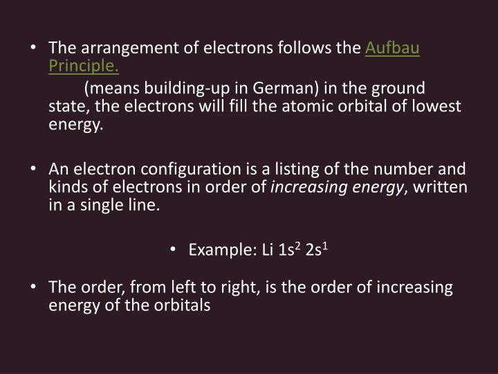 The arrangement of electrons follows the