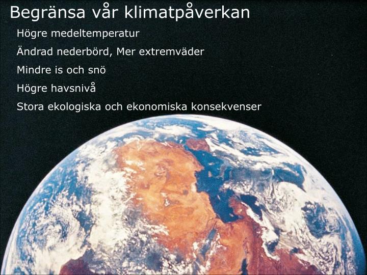 Begränsa vår klimatpåverkan