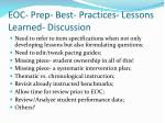 eoc prep best practices lessons learned discussion