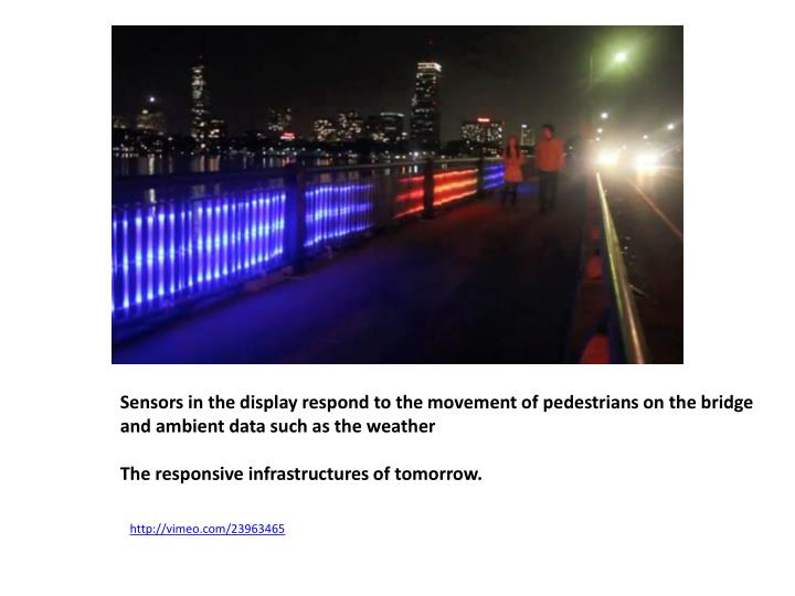 Sensors in the display respond to the movement of pedestrians on the bridge and ambient data such as the