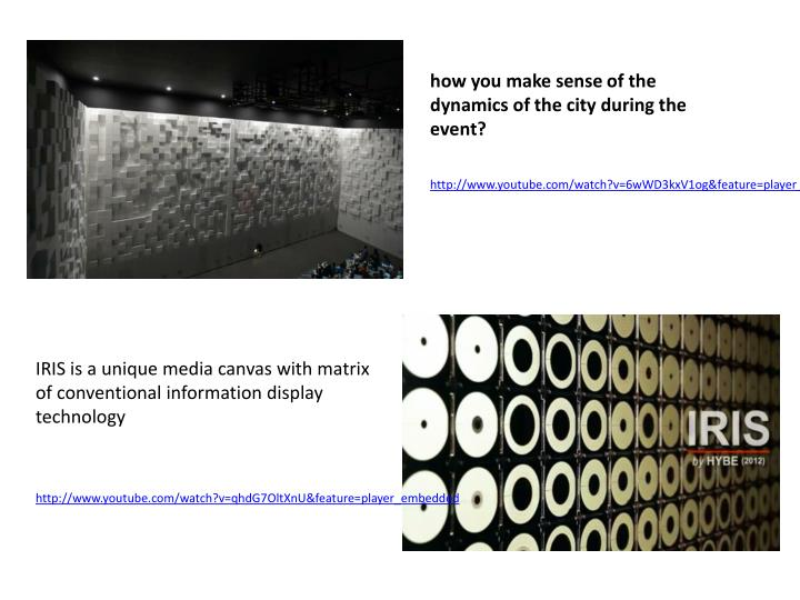 how you make sense of the dynamics of the city during the