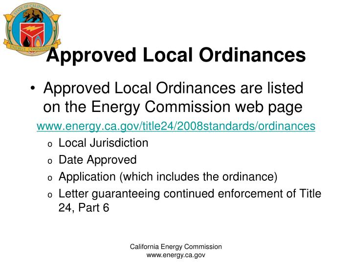 Approved local ordinances