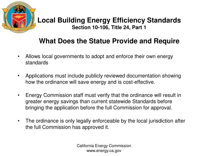 Local Building Energy Efficiency Standards