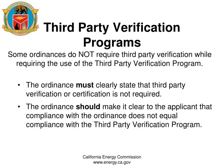 Third Party Verification Programs