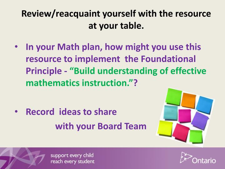 Review/reacquaint yourself with the resource at your table.