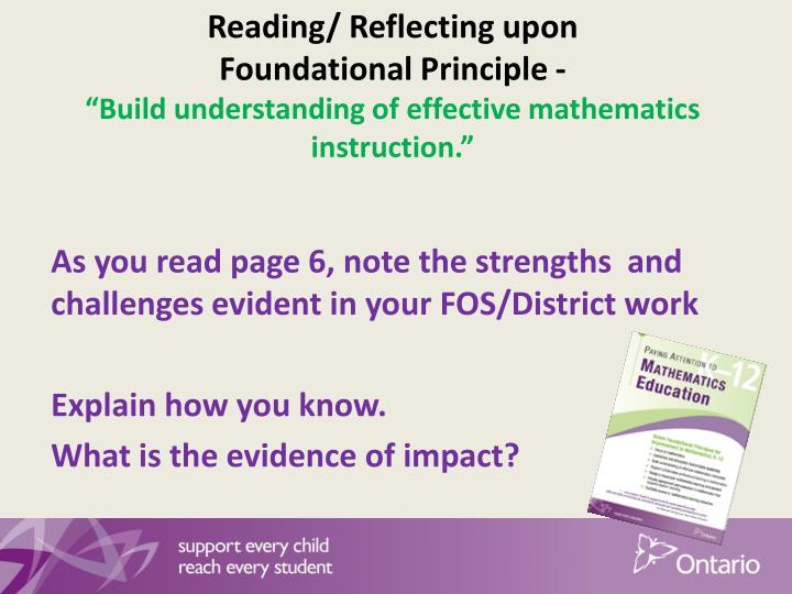 Reading/ Reflecting upon