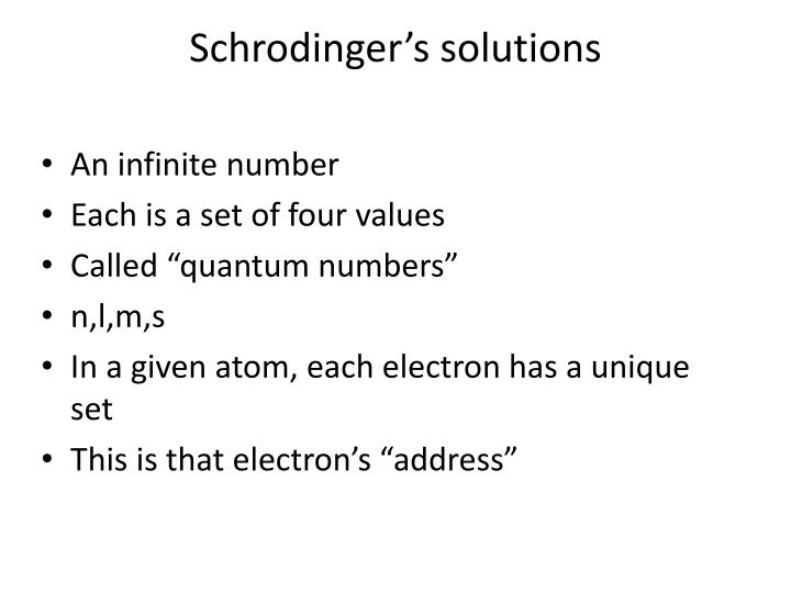 Schrodinger's solutions